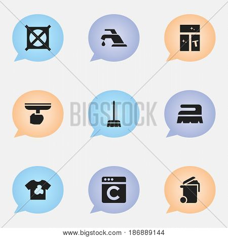 Set Of 9 Editable Dry-Cleaning Icons. Includes Symbols Such As Laundress, Brush, Unclean Blouse And More. Can Be Used For Web, Mobile, UI And Infographic Design.