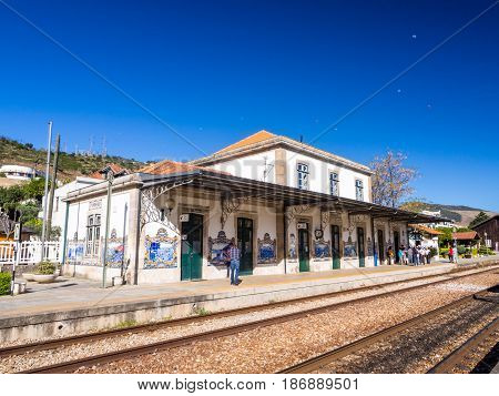 PINHAO PORTUGAL - APRIL 05 2017: Old train station in Pinhao Portugal on a spring day.
