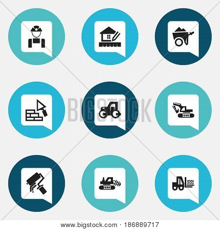 Set Of 9 Editable Construction Icons. Includes Symbols Such As Excavation Machine , Handcart , Truck. Can Be Used For Web, Mobile, UI And Infographic Design.