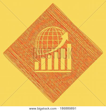 Growing graph with earth. Vector. Red scribble icon obtained as a result of subtraction rhomb and path. Royal yellow background.