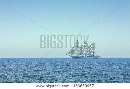 Three Masted Tall Ship In Full Sails