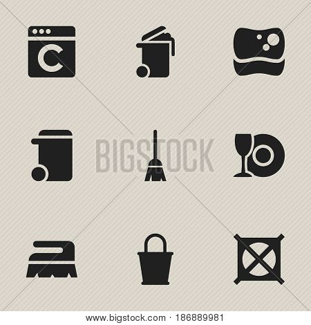 Set Of 9 Editable Dry-Cleaning Icons. Includes Symbols Such As Washing Tool, Sweep, Broomstick And More. Can Be Used For Web, Mobile, UI And Infographic Design.