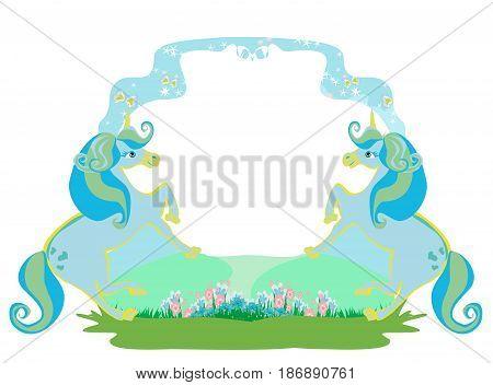 Fairytale frame with unicorns card , vector illustration