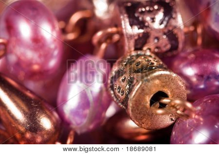 Hand made colorful earrings macro with shallow DOF