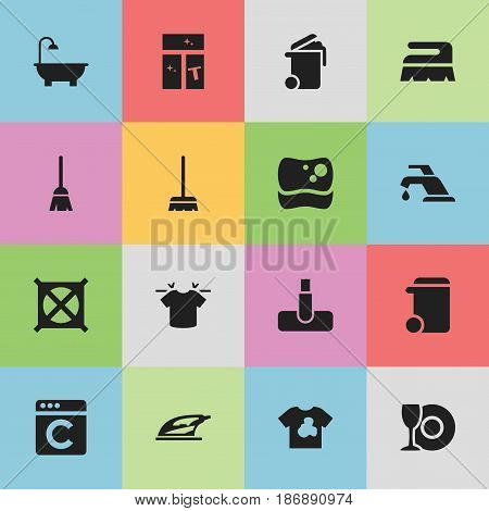 Set Of 16 Editable Cleaning Icons. Includes Symbols Such As Washing Tool, Whisk, No Laundry And More. Can Be Used For Web, Mobile, UI And Infographic Design.