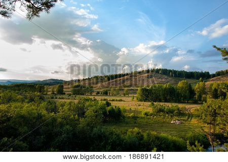 Summer landscape, mountains, hills and green forest