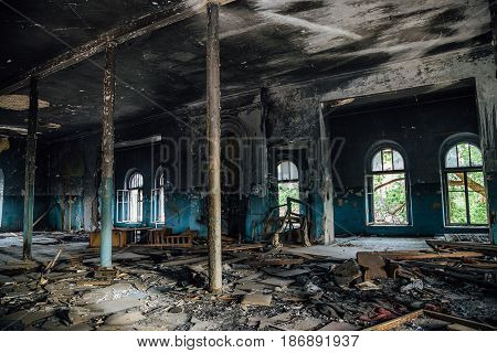 Interior of the old burnt mansion, Astrakhan.