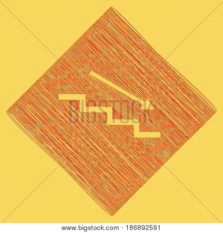 Stair down with arrow. Vector. Red scribble icon obtained as a result of subtraction rhomb and path. Royal yellow background.