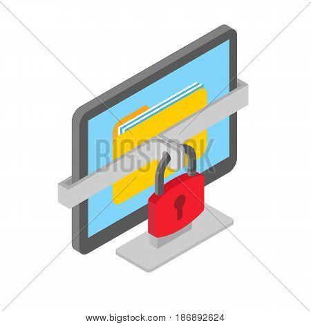 Ransomware isometric illustration, hacked computer data isolated