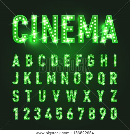 Bulb Lamp Neon Letters Abc Illustration. Green Lights. Good for Retro Signboard Poster Banner Flyer Design