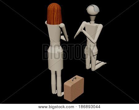 Man kneeling begging his wife not to leave him (3D rendering with wooden dolls)