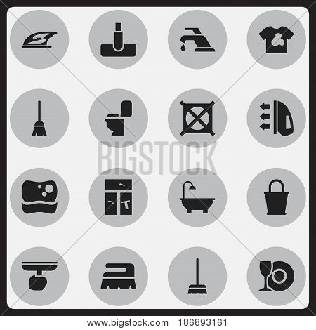 Set Of 16 Editable Cleaning Icons. Includes Symbols Such As Brush, Appliance, Steam And More. Can Be Used For Web, Mobile, UI And Infographic Design.
