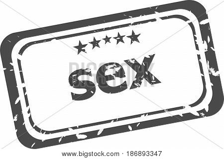 Sex Word On Rubber Stamp Over A White Background
