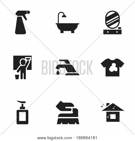 Set Of 9 Editable Cleaning Icons. Includes Symbols Such As Hand Sanitizer, Unclean Blouse, Wall Mirror. Can Be Used For Web, Mobile, UI And Infographic Design.