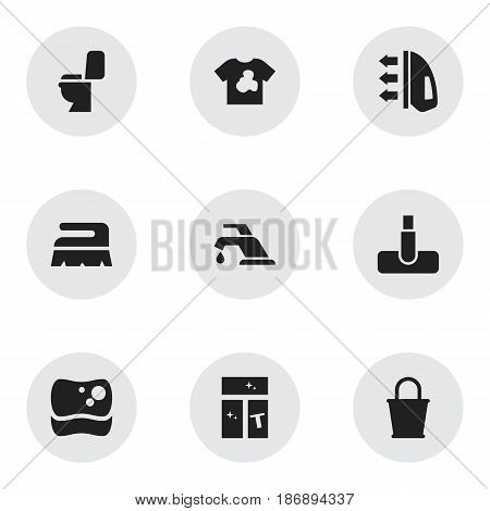 Set Of 9 Editable Cleaning Icons. Includes Symbols Such As Restroom, Washing Tool, Washing Glass And More. Can Be Used For Web, Mobile, UI And Infographic Design.