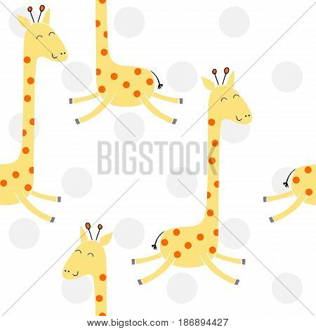 Vector drawn seamless geometric pattern with giraffe