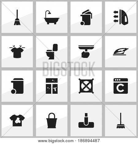 Set Of 16 Editable Cleanup Icons. Includes Symbols Such As Pail, Unclean Blouse, Bathroom And More. Can Be Used For Web, Mobile, UI And Infographic Design.
