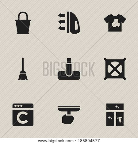 Set Of 9 Editable Dry-Cleaning Icons. Includes Symbols Such As Broomstick, Hoover, Brush And More. Can Be Used For Web, Mobile, UI And Infographic Design.