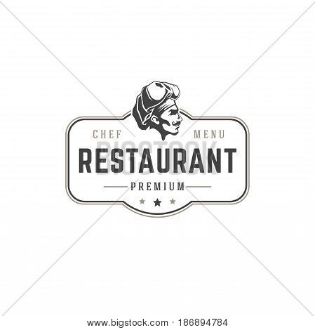 Restaurant logo template vector object for logotype or badge Design. Trendy retro style illustration, Chef man silhouette.