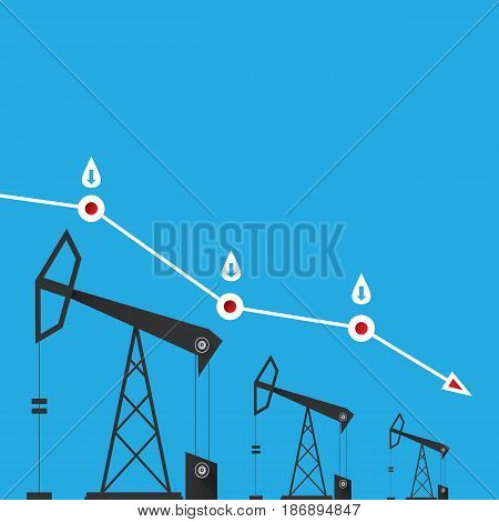 Oil price falling down graph illustration. vector illustration background