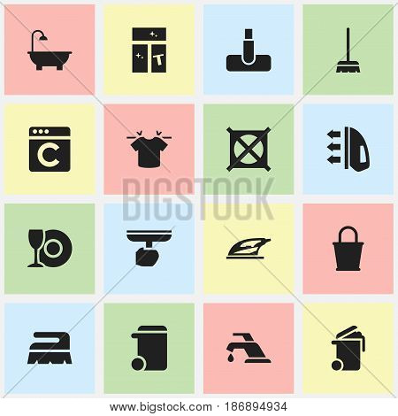 Set Of 16 Editable Hygiene Icons. Includes Symbols Such As Brush, Hoover, Washing Glass And More. Can Be Used For Web, Mobile, UI And Infographic Design.