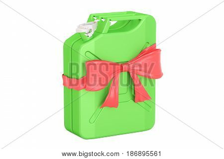 Jerrycan with bow and ribbon gift concept. 3D rendering isolated on white background