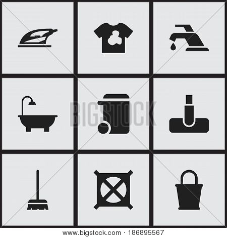 Set Of 9 Editable Cleanup Icons. Includes Symbols Such As Unclean Blouse, Appliance, Dustbin And More. Can Be Used For Web, Mobile, UI And Infographic Design.