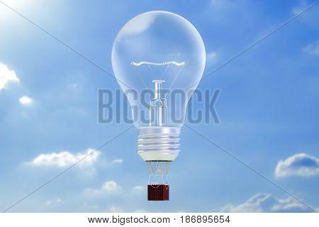 Business concept. Hot air balloon lightbulb aerostat in the blue sky. 3D rendering