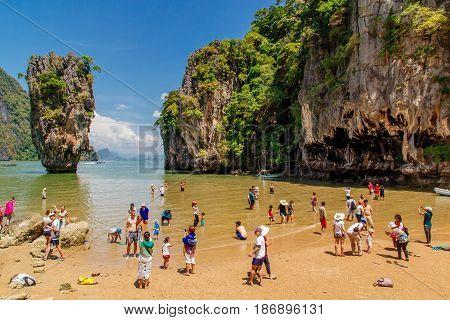 Thailand Phuket - 19 February 2017 : Famous rocky James Bond Island. Phang nga bay Phuket Thailand.