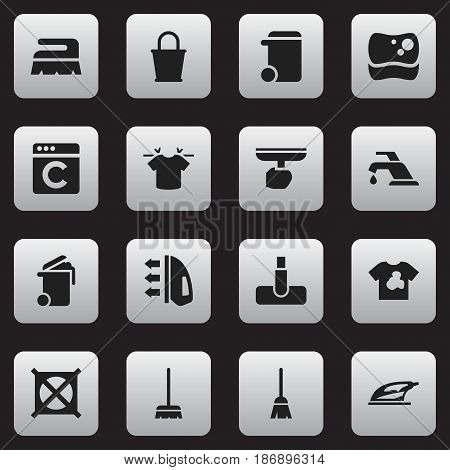 Set Of 16 Editable Cleanup Icons. Includes Symbols Such As Steam, Pail, Brush And More. Can Be Used For Web, Mobile, UI And Infographic Design.