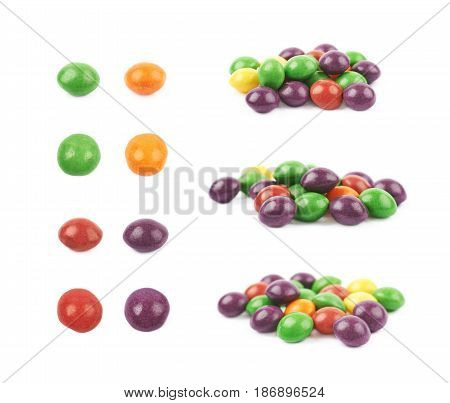 Pile of colorful chewing candies isolated over the white background, set of different foreshortenings
