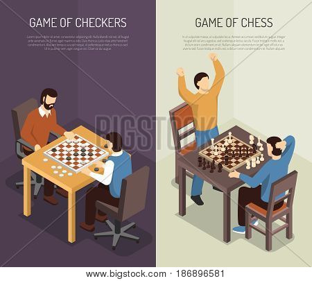 Two vertical board games vertical banner set with game of checkers and of chess headlines vector illustration