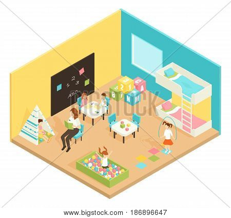 Kindergarten play room isometric design concept with teacher and children engaged in educational and outdoor games vector illustration