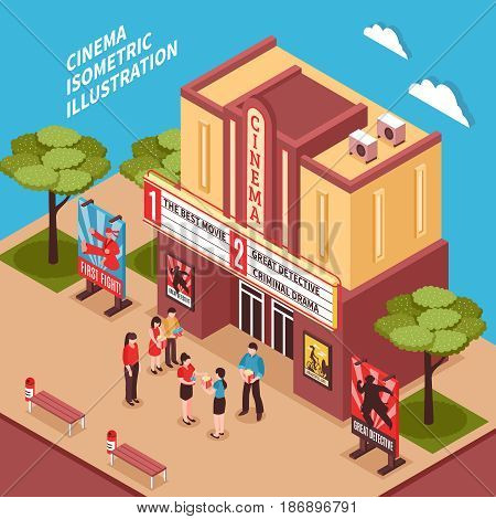 Cinema building isometric composition with posters signboards and viewers at entrance vector illustration