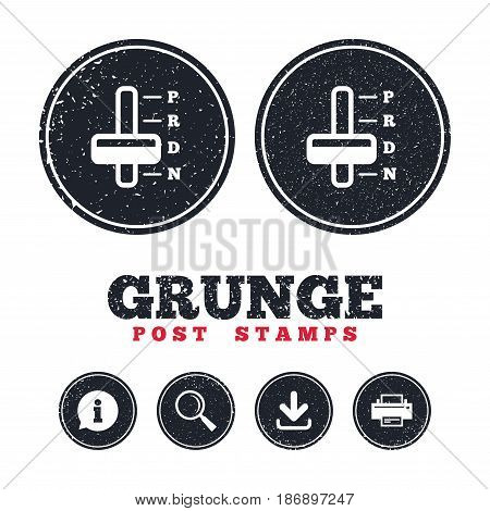Grunge post stamps. Automatic transmission sign icon. Auto car control symbol. Information, download and printer signs. Aged texture web buttons. Vector