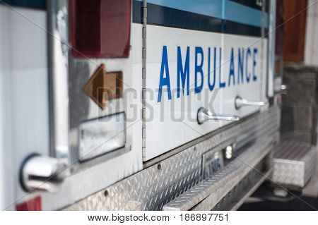 Ambulance at the entrance of an emergency room