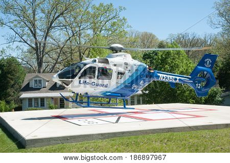 HOT SPIRNGS VIRGINIA- MAY 3 2017: Patient is transported via air ambulance to a trauma center after a fall.