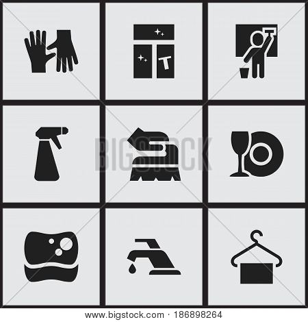 Set Of 9 Editable Hygiene Icons. Includes Symbols Such As Faucet, Scrub, Hanger And More. Can Be Used For Web, Mobile, UI And Infographic Design.