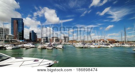 Ocean Village marina in Southampton on a warm sunny day