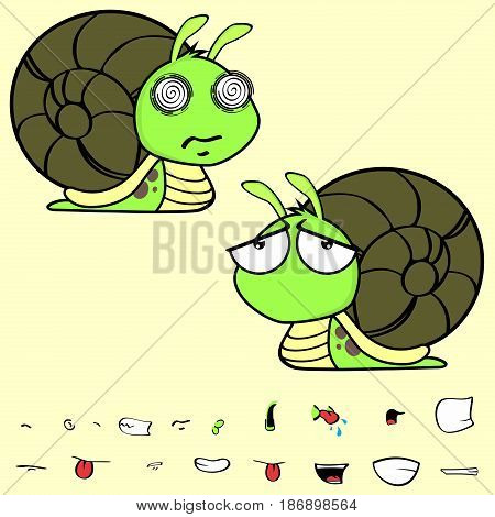 sad little snail cartoon expressions set in vector format very easy to edit