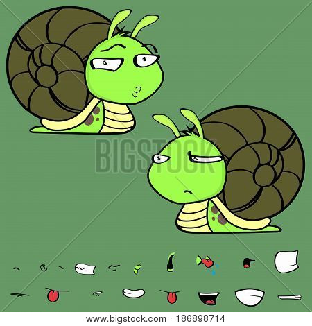 flirty little snail cartoon expressions set in vector format very easy to edit