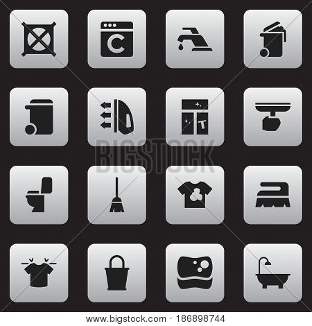 Set Of 16 Editable Cleaning Icons. Includes Symbols Such As No Laundry, Pail, Washing Tool And More. Can Be Used For Web, Mobile, UI And Infographic Design.