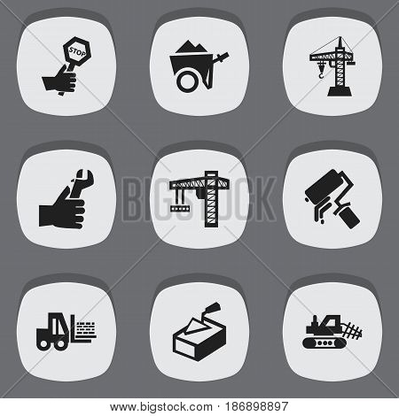 Set Of 9 Editable Building Icons. Includes Symbols Such As Hands , Scrub,  Lifting Equipment. Can Be Used For Web, Mobile, UI And Infographic Design.