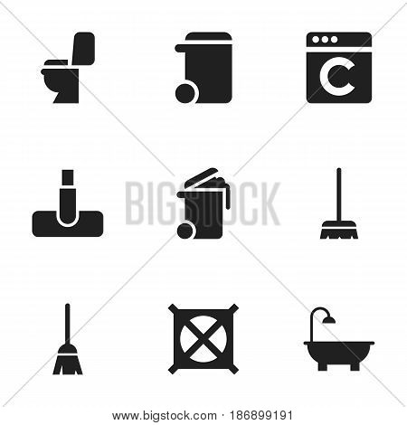 Set Of 9 Editable Cleanup Icons. Includes Symbols Such As No Laundry, Container, Laundress And More. Can Be Used For Web, Mobile, UI And Infographic Design.