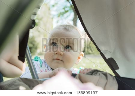 Little sweet baby with interest looks inside the tent