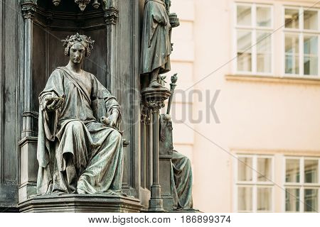 Detail of statue of Czech King Charles Iv In Prague, Czech Republic