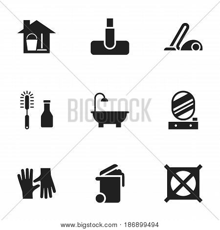 Set Of 9 Editable Cleanup Icons. Includes Symbols Such As No Laundry, Cleanser, Container And More. Can Be Used For Web, Mobile, UI And Infographic Design.