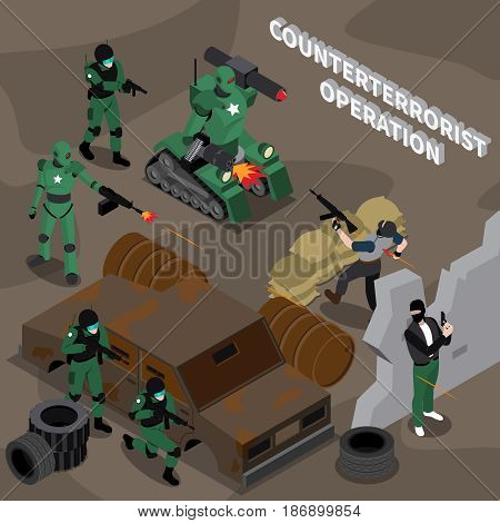 Robot professions 3d design concept on theme of counterterrorist operation isometric vector illustration
