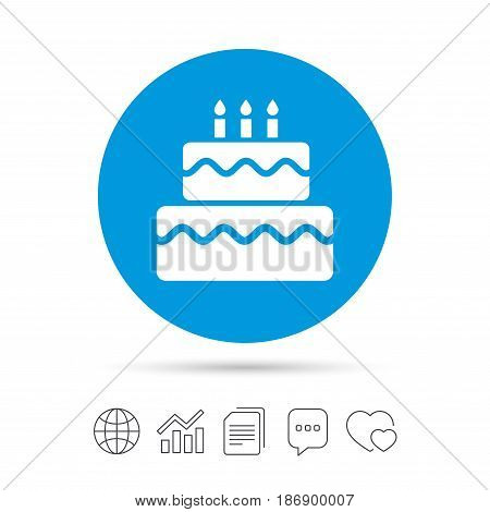 Birthday cake sign icon. Cake with burning candles symbol. Copy files, chat speech bubble and chart web icons. Vector