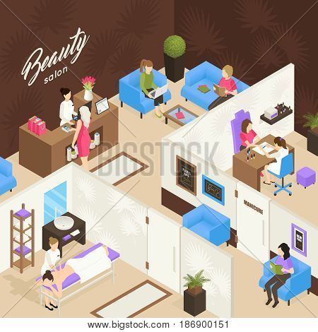 Beauty salon isometric design concept with receptionist waiting customers and working staff vector illustration